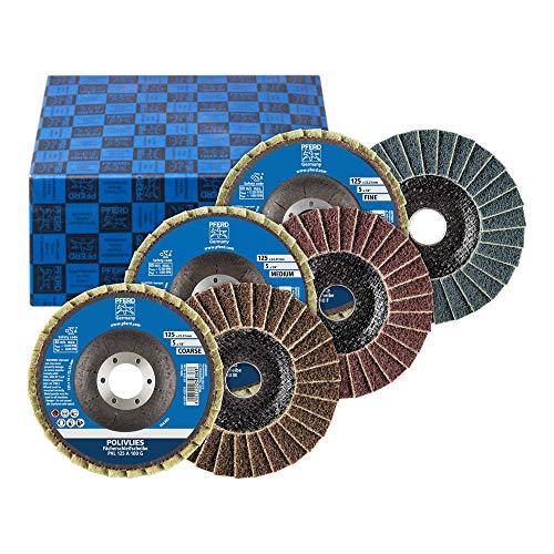 PFERD 44698005 POLIVLIE fackbrickor uppsättning PVL, 3-delad Ø125 mm borrning ø 22,23 mm A100,180,280   för finslipning, korund A