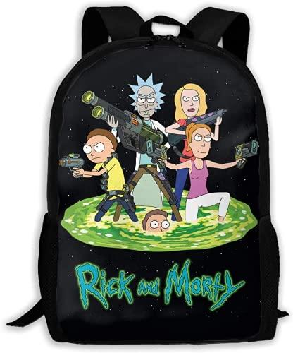 Zaino per ragazzi Rick e Morty, borsa a tracolla per viaggi, zaino Anime Backpack for School, Travel, & Work, White Marble, Laptop, Rick and Morty., L,