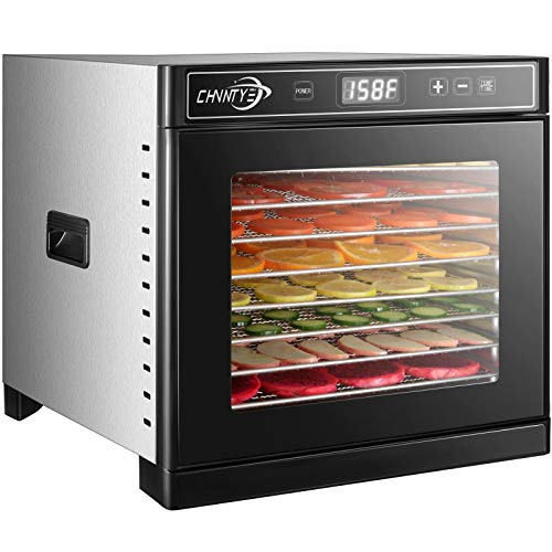 Food Dehydrator Machine,8 Trays Dehydrators for Food and Jerky, Digital Timer and Temperature Control Stainless Steel Food Dryer with Dehydrator Sheets and Recipe Book by Chvntye