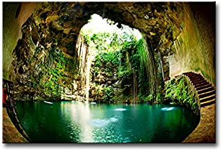 Wall Art Decor Poster Painting On Canvas Print Pictures Fantastic Ik-Kil Cenote Chichen Itza Mexico Landscape Cave Framed Picture for Home Decoration Living Room Artwork