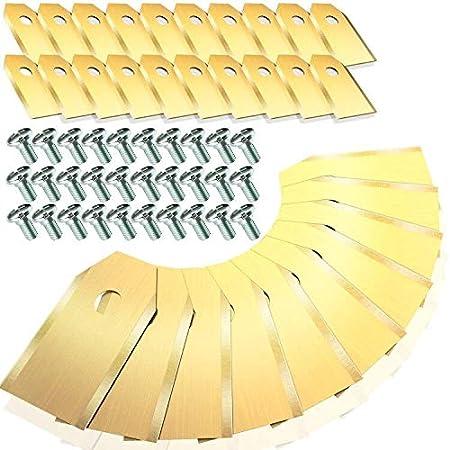 Homealexa 30x Cuchillas de Repuesto de Titanio (TiN) para Robots Cortacéspedes Gardena y Husqvarna Automower. Versión Robusta con Tornillos (3,1 g/0,75 mm). 30 piezas