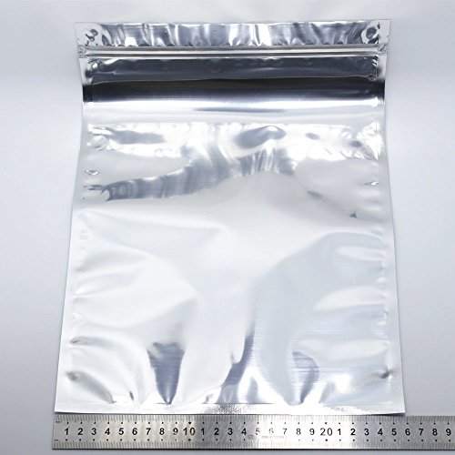 50 Pack Clear Front Resealable 2.76mil Mylar Ziplock Sample Bags Heat Seal Smell Proof Pouches for Food Grade Storage Coffee Candy Foil Grip Seal Wrap (26x37cm (10.2x14.6 inches))