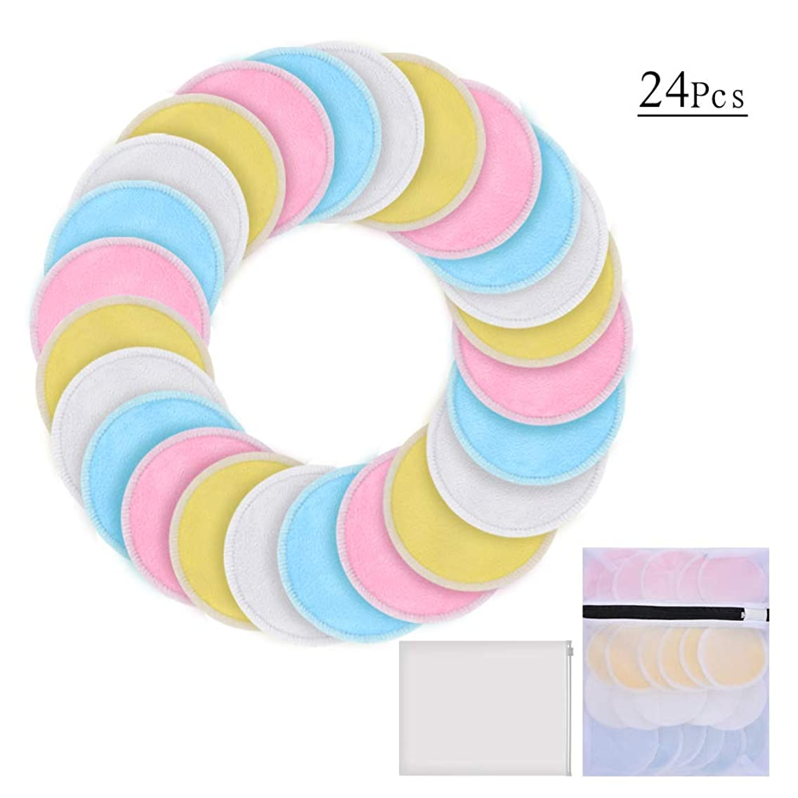 Reusable Makeup Remover Pads for face 24 Packs - Bamboo Cotton Rounds - Washable Face Makeup Remover Pads