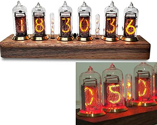 WXFCAS Nixie Tube Clock Smart Alarm Reloj, Retro Resplandor en-14 Reloj Digital de Escritorio de Madera, Color de la luz Ajustable y Brillo, Bluetooth o Control de Infrarrojos, Madera