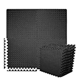 BEAUTYOVO Puzzle Exercise Mat with 12 Tiles Interlocking Foam Gym Mats, 24'' x 24'' EVA Foam Floor Tiles, Protective Flooring Mats Interlocking for Gym Equipment, Black