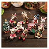 Dulau 8 Piezas Adornos en Miniatura de Navidad, Mini Resina en Miniatura Adornos, Adornos en Miniatura de Muñeco de Nieve de Papá Noel de Reno, para Navidad Nochevieja Decoración de Escritorio