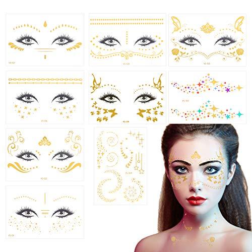 KATOOM 9stk Gesicht Tätowierung Gold Temporäre Tattoo Aufkleber Metallic Tätowierungsaufkleber Face Sticker Fingertattoo Tattoobögen für Festival Karneval Fasching Sommer Frauen Mädchen