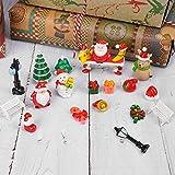 Navidad Decoración Casa(21pcs), Adornos Jardín Miniatura Navidad,Mini Figuras Jardín de Hadas Decoración, Mini Adornos Navideños de Resina Papá Noel para Decoración de Fiesta de Jardín para el Hogar