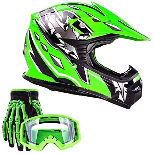 Typhoon Youth Kids Offroad Gear Combo Helmet Gloves Goggles DOT Motocross ATV Dirt Bike MX Motorcycle Green (Large)