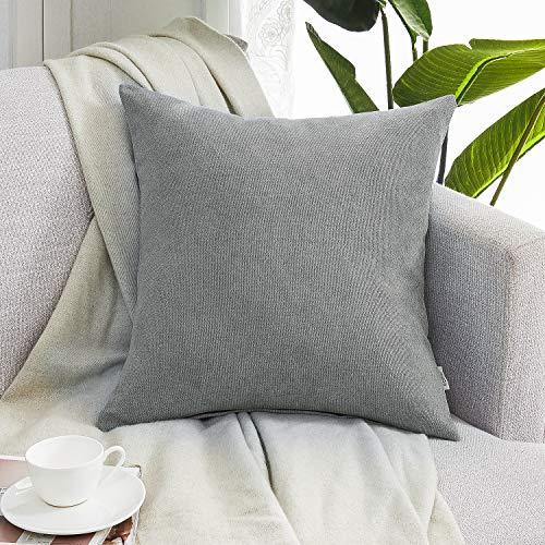 Topfinel Kissenbezüge Einfarbig Chenille Dekokissenhülle mit Verstecktem Reißverschluss für Sofa Auto Bett 1 Stück 80x80 cm Fehgrau