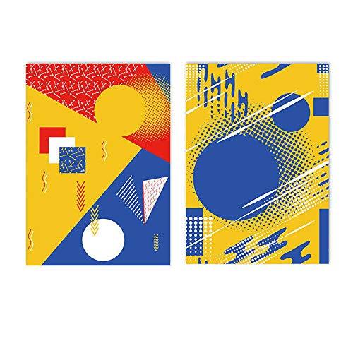 MXK Pinturas de Lienzo de Arte de Pared Abstracto de Colores Azul Amarillo, póster con Estampado de geometría Moderna, Cuadros de Pared nórdicos para decoración de Sala de Estar, 50x70cm sin Marco