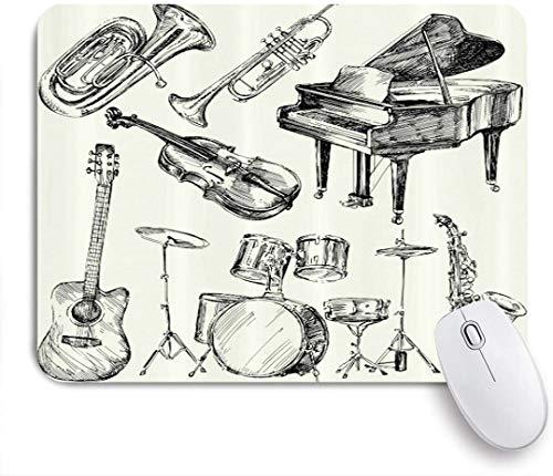 HUAYEXI Stoff Mousepad,Jazzmusik Illustration von Musikinstrumenten Sketch Style Art mit Trompete Klaviergitarre,Rutschfest eeignet für Büro und Gaming Maus