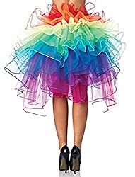 Size:one size fit most Material: 35%Cotton + 65% Polyester (5 -8 Layers) Ribbon tie, Can be laced up to your waist as a part of costume.(only the Skirt, not include the pants) Layered Organza Rainbow Bustle Skirt 100% designed and tested for the toug...