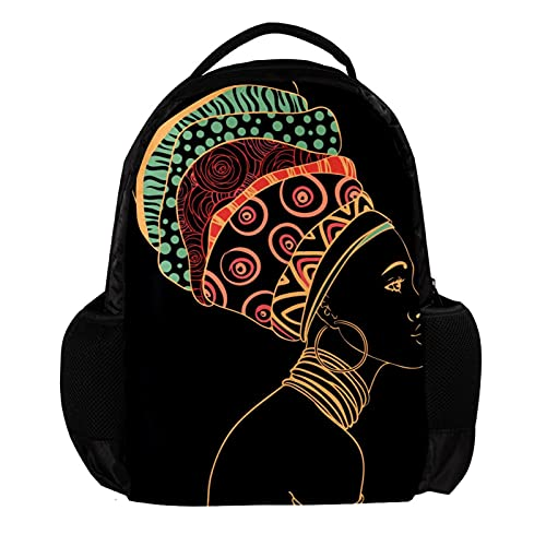 Large Travel Backpack Laptop Backpack portrait of beautiful african woman with earring School Bag Lightweight Backpack Vacation Backpack