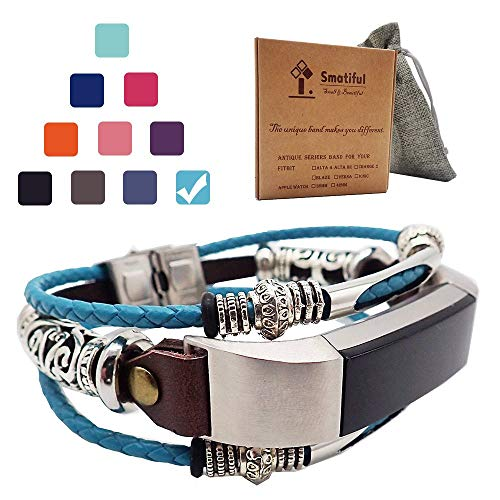 Smatiful Alta HR Bands for Women, Adjustable Replacement Bangle Bracelet Compatible for Fitbit's Alta HR, Mediterranean Blue