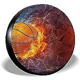 Copertura per Pneumatici Palla da Basket in Fiamme e Acqua Copertura di scorta per Pneumatici Adatta per rimorchio, Camper, SUV, Ruota del Camion