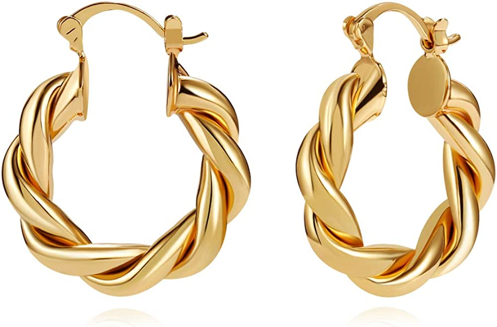 LILIE&WHITE Twisited Gold Chunky Hoop Earrings For Women 14K Gold Plated High Polished Lightweight Hoops For Girls Fashion Jewelry…