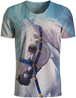 3D White Horse Men T Shirts Funny Animal T Shirts Harajuku Casual O-Neck Tees Tops Plus Size