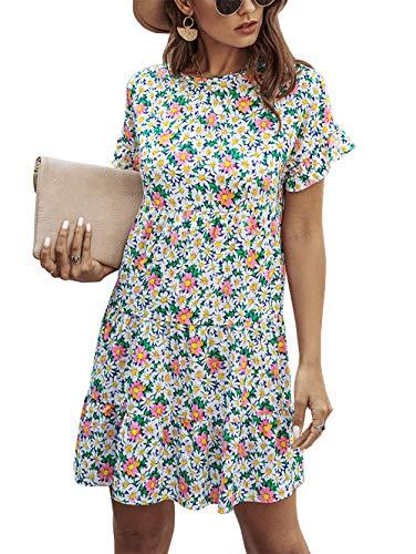 KIRUNDO 2020 Summer Women's Ruffle Mini Dress Short Sleeves Leopard Print Round Neck Loose Pleated Dress (Medium, Q_Blue)