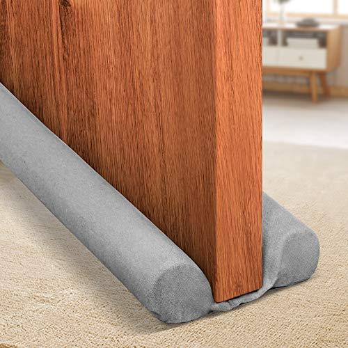 Holikme Twin Door Draft Stopper Weather Stripping Window Breeze Blocker Adjustable Door Sweeps 34inch Grey