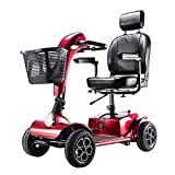Folding Electric Mobility Scooter Lightweight Portable Wheelchair with Armrest Removable Baskets and Led Lights,Drive Medical Electric Scooter Battery 4 Wheels 350w 8 Mph