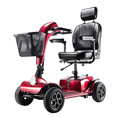 Elektromobil Senioren Seniorenmobil Seniorenfahrzeug,älterer Wagen Faltbarer Elektrischer Rollstuhl Roller Scooter Für Erwachsene Behinderte,elektroroller Elektrofahrzeug Led Scheinwerfer,red