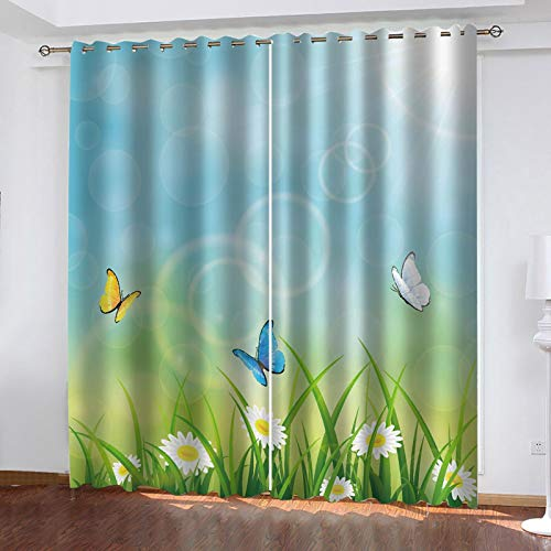 LUOWAN Bedroom Blackout Curtains Floral butterfly print pattern Total size:92' wide x 90.5' drop (234cm x 230cm) Eyelet Ring Top Thermal Insulated Soft Window Darkening Panel Kitchen Set Super Soft fo