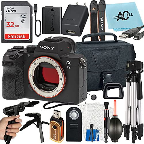 Sony Alpha a7 III Full Frame Mirrorless Digital Camera (Body Only) 24MP with SanDisk 32GB Memory Card, Bag, Tripod and A-Cell Accessory Bundle (ILCE7M3/B)