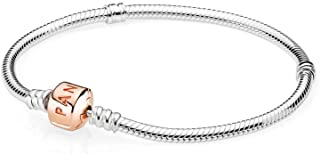 PANDORA - Moments Snake Chain Charm Bracelet in PANDORA Rose, 6.3 IN / 16 CM