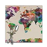 Set di 6 tovagliette quadrate per la Decorazione della tavola della Cucina della Sala da Pranzo, tovagliette Vintage Colorate con Stampa della Mappa del Mondo Lavabili