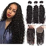 IWISH Brazilian Virgin Hair Deep wave 3 Bundles With Closure(22 24 26+20) Free Part 9A Unprocessed Deep Curly Human Hair Bundles With 4x4 Lace Closure