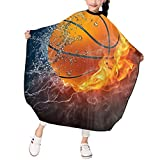 MJhair Sports Basketball Kids Haircut Barber Cape for Hair Cutting Professional Home Salon Hairdressing Smock Cover