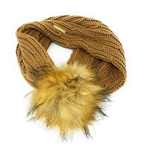 Michael Kors Faux Fur Pom Cable Knit Neck Warmer, Camel