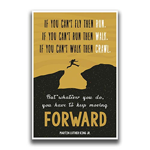 JSC454 Keep Moving Forward Martin Luther King Jr Quote Poster Jumping Figure | 18-Inches by 12-Inches | Motivational Inspirational | Premium 100lb Gloss Poster Paper