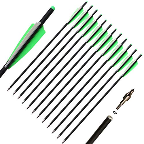 TOPARCHERY 12pcs Crossbow Arrows Crossbow Bolts 16 inch / 20 inch Hunting Archery Crossbow Carbon Arrows with 4 inch Vanes and Replaced Arrowhead/Tip (A Green White 20'')
