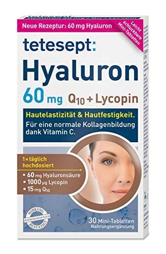 tetesept Hyaluron 60 mg Lycopin + Q10 – Ergänzungspräparat mit Vitamin C für eine normale Kollagenbildung - Wirkung von innen – 1 x 30 Mini-Tabletten [Nahrungsergänzungsmittel]