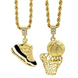 Mens Gold Plated HipHop Retro 11'Concord' & Plain Basketball Pendant 4mm 24' Rope Chain