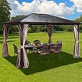 YOLENY 10'x10' Outdoor Hardtop Polycarbonate Gazebo Canopy Curtains...