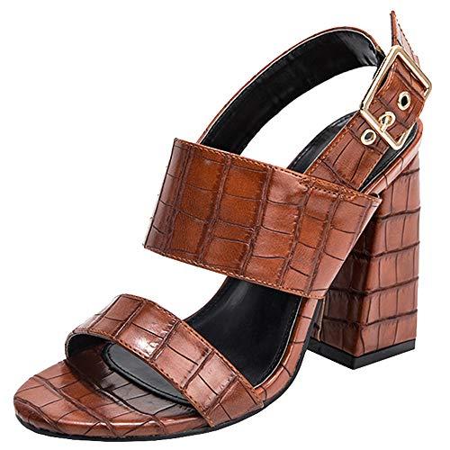 Gracemee Moda Mujer Sandalias Punta Abierta Tacon Ancho Tacon Alto Verano Zapatos Correa De Tobillo Fiesta...