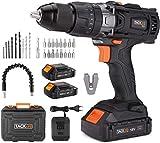 Taladro Atornillador 18 V, TACKLIFE Taladro Percutor,Max 60 Nm, 2x 2.0Ah...