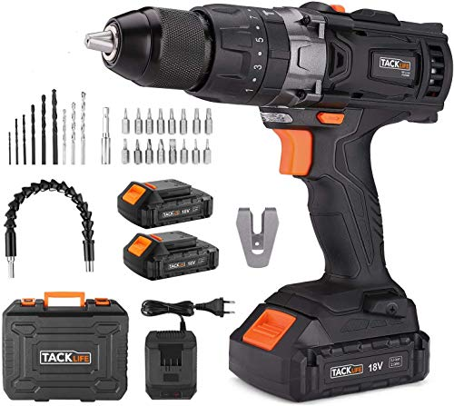 Taladro Atornillador 18 V, TACKLIFE Taladro Percutor,Max 35Nm, 2x 2.0Ah Baterías Litio 18V, 13 mm Portabrocas Automatico,1H Carga Rápida - PCD04B