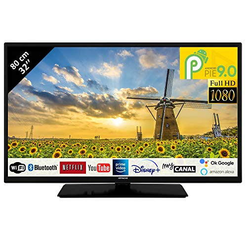 Hitachi 32HAE4252 - Televisor LED 32' 80,01 cm FullHD con Alexa Android Smart TV: Netflix, Youtube, Prime/WIFI, 3 HDMI, 2 USB