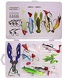 LEAMALLS 34 Piezas Señuelos Pesca Artificial Cebos para Anzuelos Pesca, Cucharillas Pesca Accesorios Aparejos De Pesca para la Pesca Ganchos