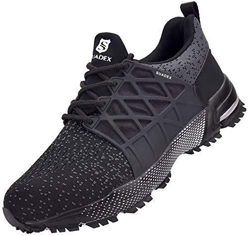 SUADEX Zapatos de seguridad para hombre y mujer, ligeros, antideslizantes, transpirables, con puntera de acero, color Negro, talla 45 EU