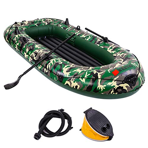 Kayak 8/10ft Inflatable Boat Rowing Boat Rubber Inflatable Boat Raft 3-4 Persons Dinghy Water Assault Fast Boat For Fishing Rafting Water Sports With Foot Pump+2 Paddle (Camouflage, 10 '× 5' × 1.3 ')