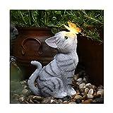 ANWUYANG Ornements De Statue De Chat De Lumière Solaire 1pcs |Sculptures d'animaux en Résine De Jardin D'extérieur |Décoration De La Maison Lumineuse De Balcon