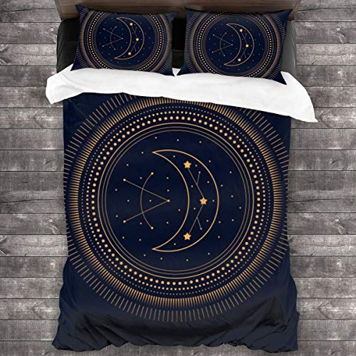 xiaolang Duvet Cover Set,Geometric Alchemy Symbol With Moon. Abstract Occult And Mystic Signs,Decorative 3 Piece Bedding Set with 2 Pillow Shams,200 * 200cm*1