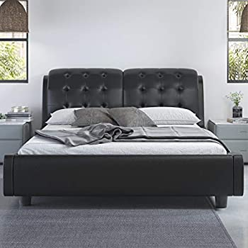 Allewie Queen Size Platform Bed Frame with Curved Headboard and Wood Slat Support / Faux Leather Upholstered Queen Size Mattress Foundation Black and White