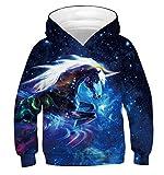 Ainuno Unicorn Hoodie for Girls Cute Sweatshirts Hooded Jacket Juniors Blue Hoody Pullover with Pocket,Galaxy Unicorn Kids,4-6 Years Old
