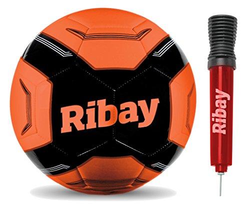 Ribay Soccer Ball with Ball Pump, Orange, Size 5